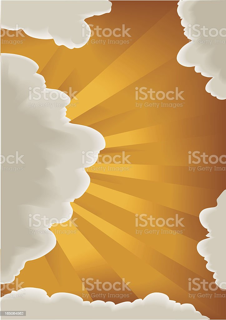 clouds, sunset and noon vector art illustration