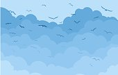 Clouds with birds.