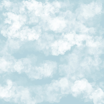 Clouds with Blue Background. Baby Shower Invitation Cards Background, Nursery Room Wallpaper