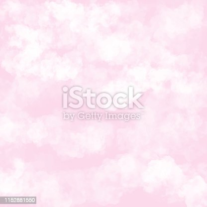 istock Clouds with Pink Background. Baby Shower Invitation Cards Background, Nursery Room Wallpaper 1152881550