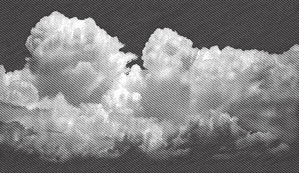 Cloudscape, Approaching Storm Engraving illustration of a cloudscape and approaching storm. heaven stock illustrations