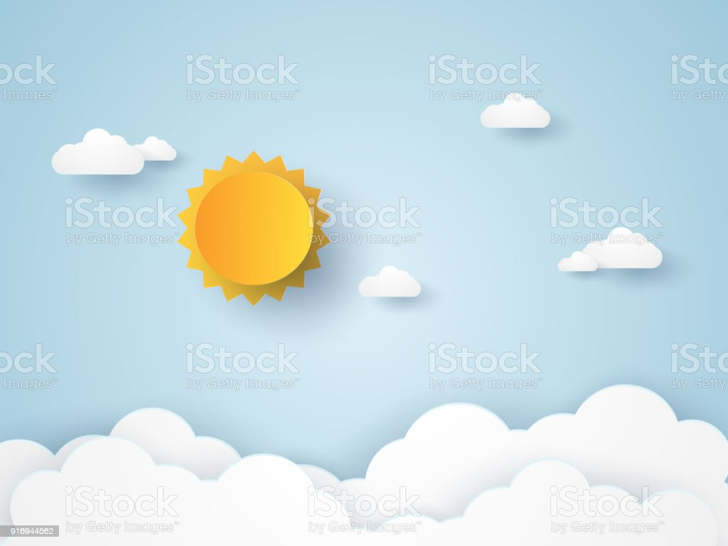 Cloudscape , blue sky with clouds and sun , paper art style royalty-free cloudscape blue sky with clouds and sun paper art style stock illustration - download image now