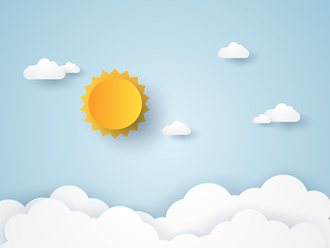 Cloudscape Blue Sky With Clouds And Sun Paper Art Style Stock Illustration - Download Image Now