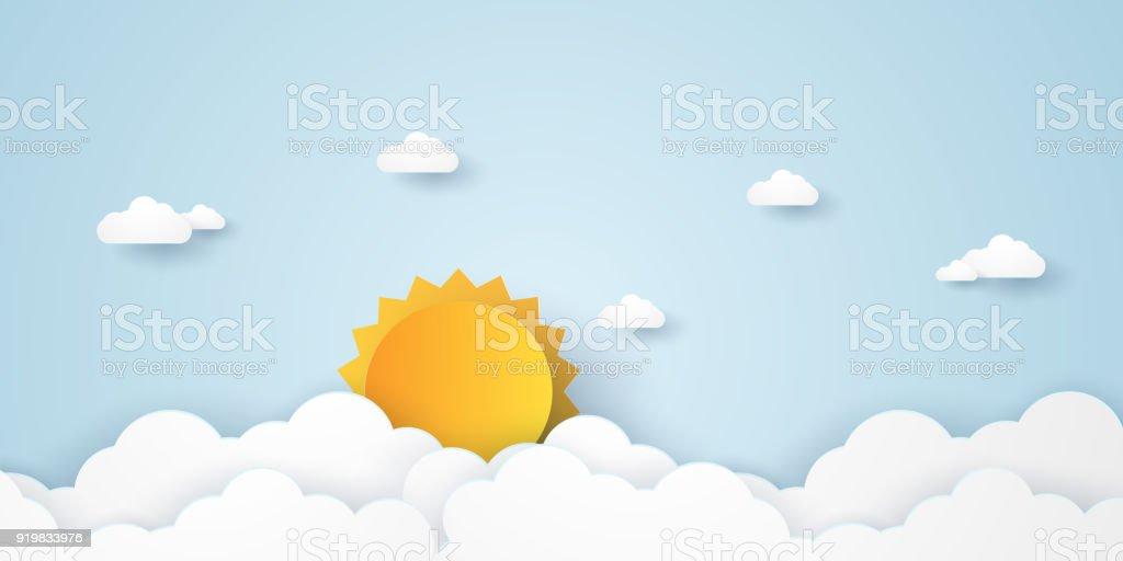 Ciel de Cloudscape, bleu avec des nuages et soleil, style art papier - Illustration vectorielle