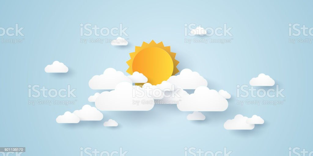 Cloudscape , blue sky with clouds and sun , paper art style