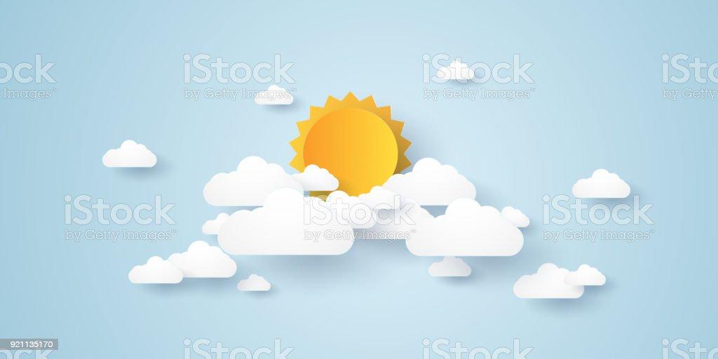 Wolkengebilde, blauer Himmel mit Wolken und Sonne, Papier-Art-Stil – Vektorgrafik