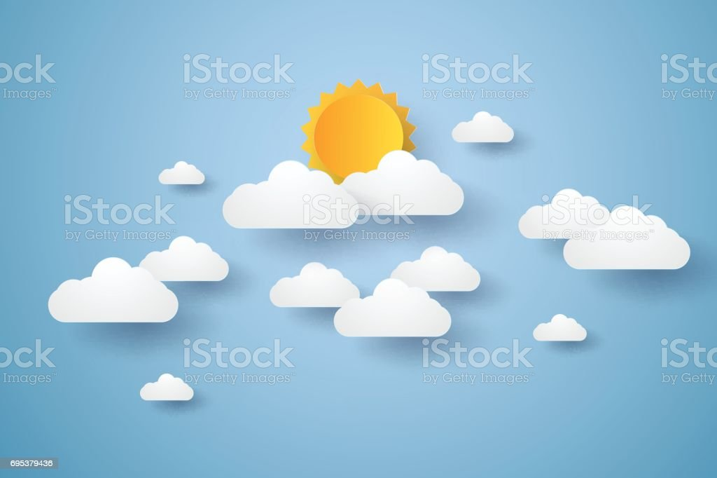 Cloudscape , blue sky with clouds and sun vector art illustration