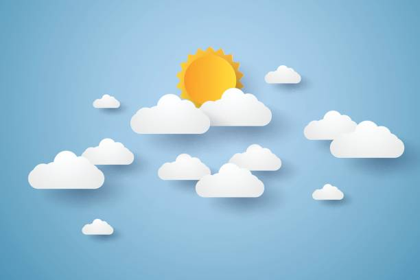 cloudscape , blue sky with clouds and sun - skies stock illustrations, clip art, cartoons, & icons