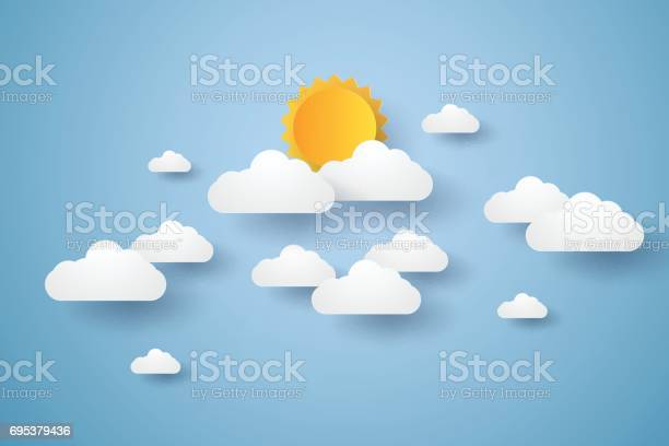 Cloudscape Blue Sky With Clouds And Sun Stock Illustration - Download Image Now