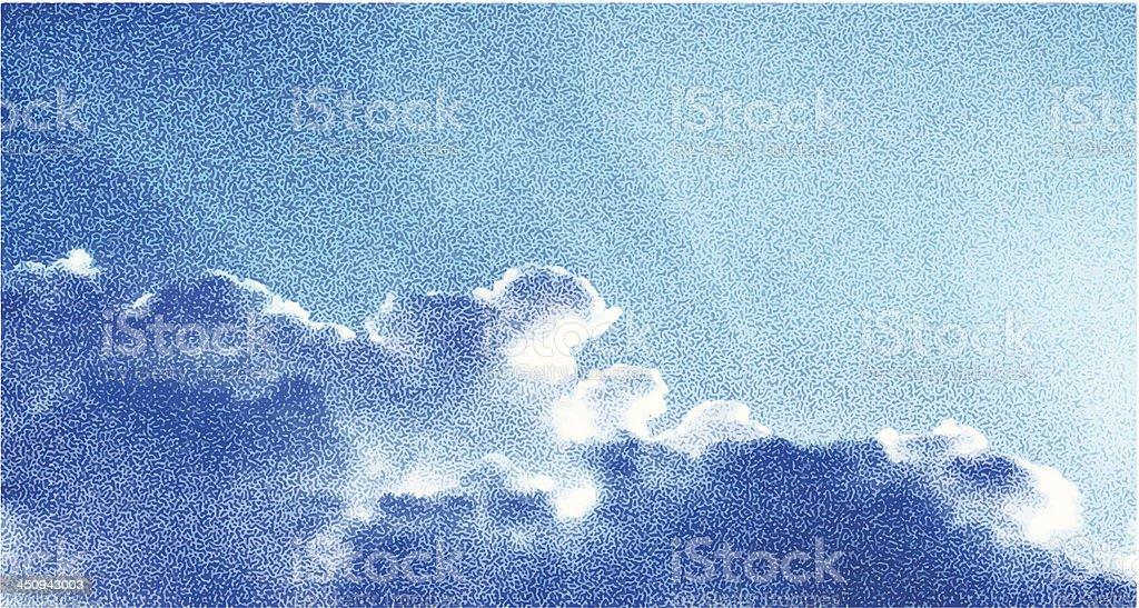 Cloudscape Stipple vector art illustration