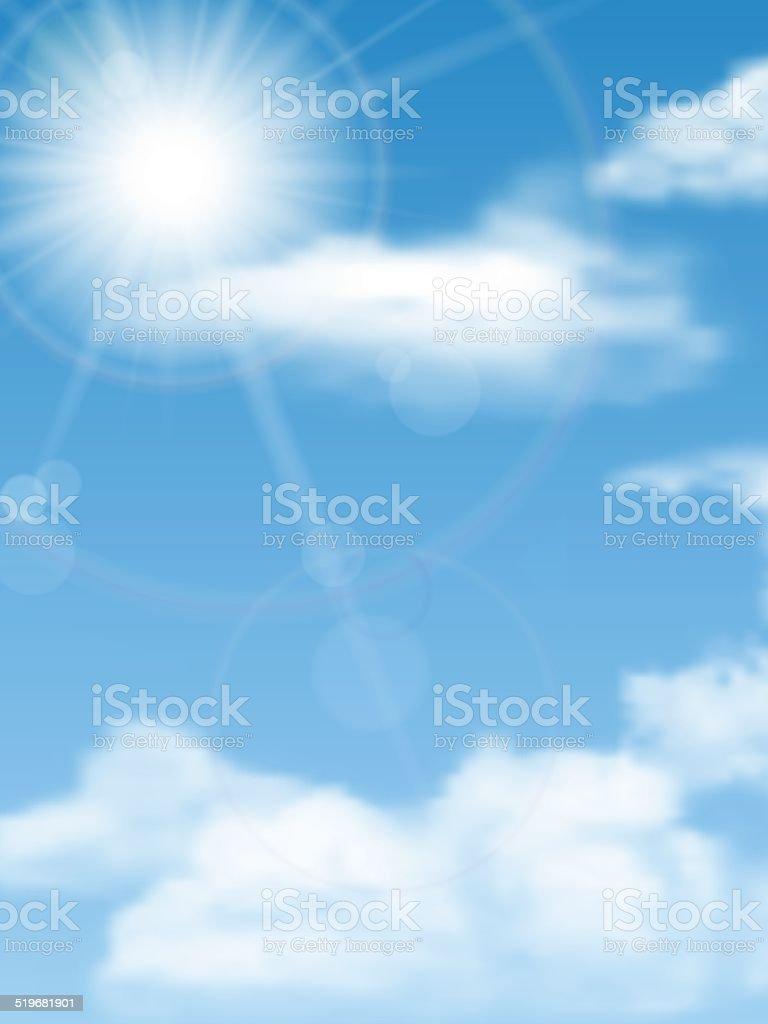 cloudscape, sun, sky vector art illustration
