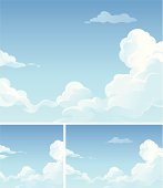 White clouds in a blue sky. EPS 8, fully editable, grouped and labeled in layers.
