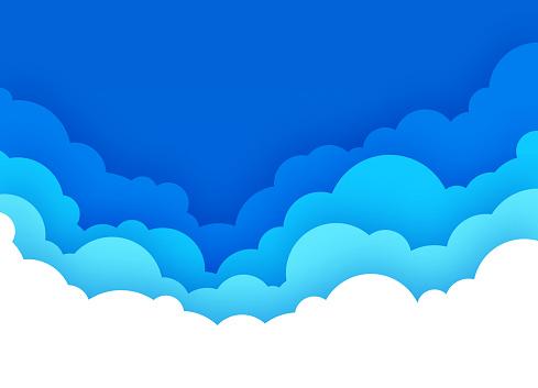 Cloudscape with Blue Sky Cartoon Background
