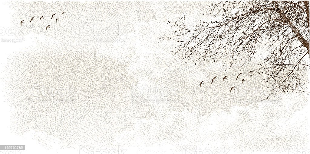 Cloudscape with Tree and Birds royalty-free stock vector art