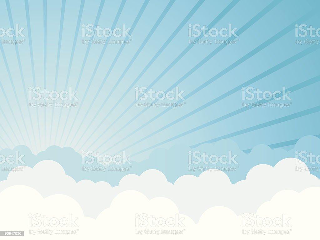 Cloudy cartoon background - vector vector art illustration
