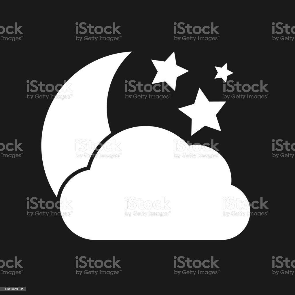 Cloudy night Icon. White weather icon on dark background. Vector...