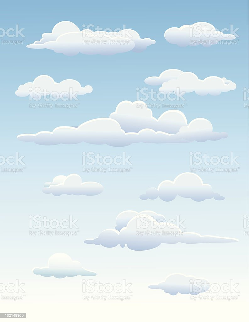 Cloudy seamless background vector art illustration