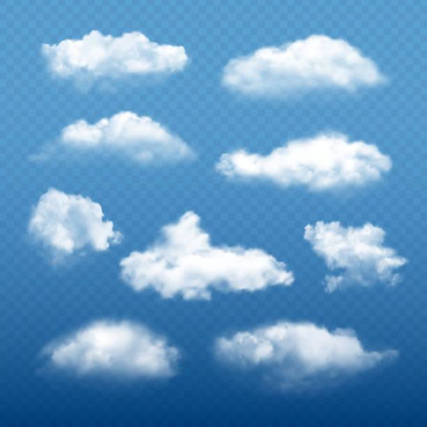흐린 하늘 현실적인. 아름 다운 흰 구름 응축 컬렉션 벡터 날씨 요소 - 구름 stock illustrations