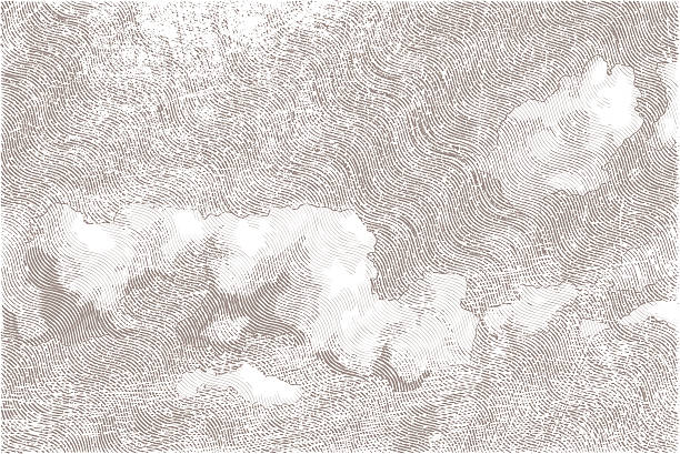 Cloudy Sky cloudy sky, imitation of engraving, one-colored engraved image stock illustrations