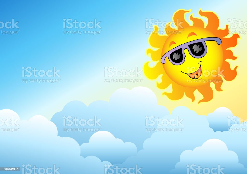 Cloudy Sky With Cartoon Sun Stock Vector Art More Images Of