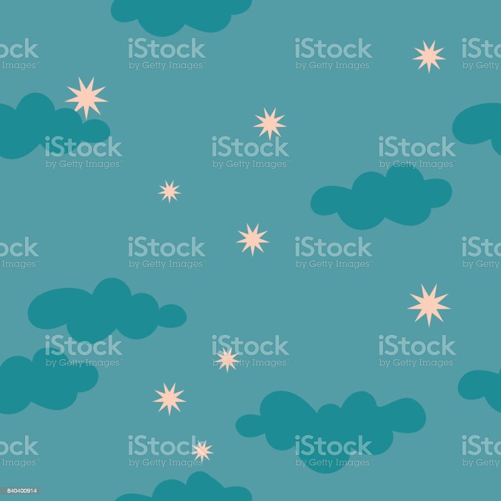 Cloudy starry night sky seamless pattern vector art illustration