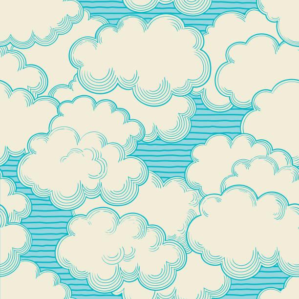 cloudy turquoise sky - krajobraz z chmurami stock illustrations