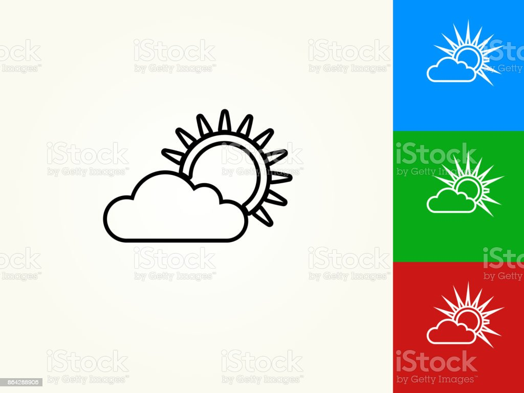 Cloudy Weather Black Stroke Linear Icon royalty-free cloudy weather black stroke linear icon stock vector art & more images of black color