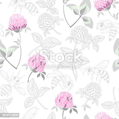 Clover and bees. Vector background.