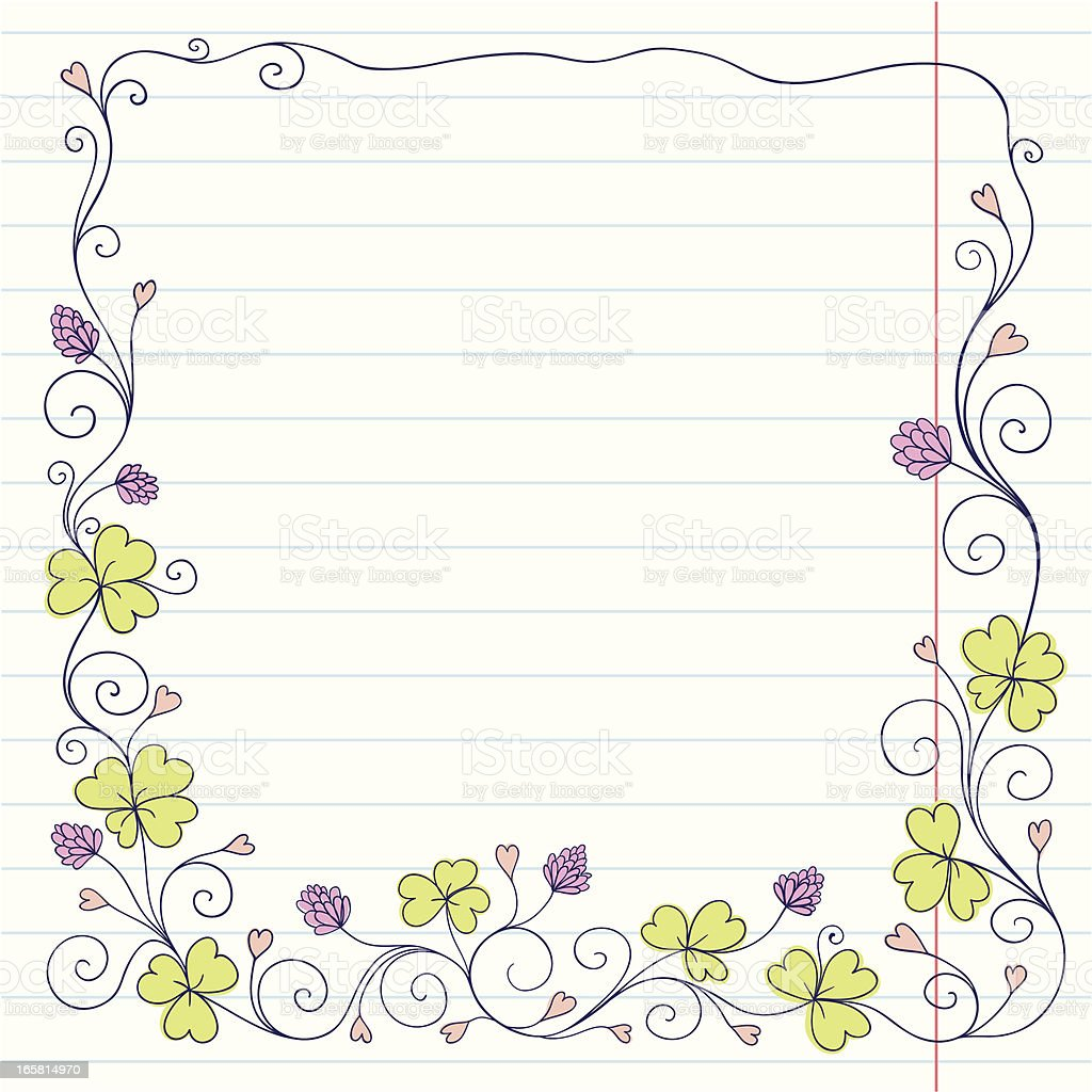 Clover frame on sketch paper royalty-free stock vector art
