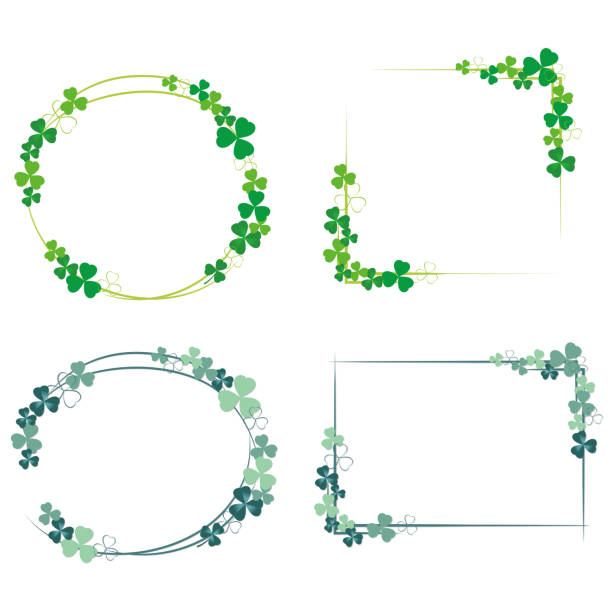 Clover frame set with two color tones. vector art illustration