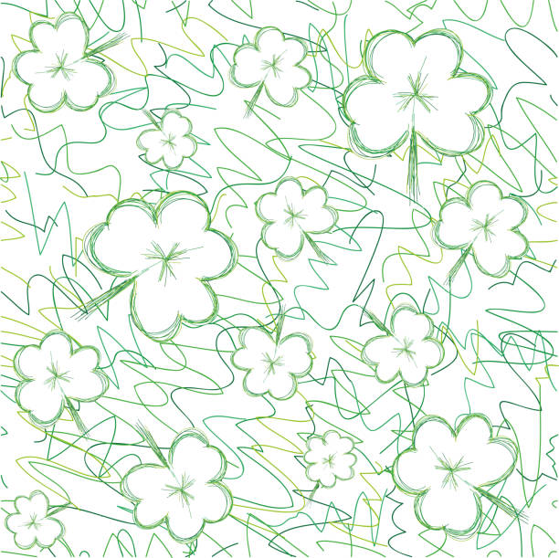 Clover hand drawn seamless background for St. Patrick's day vector art illustration