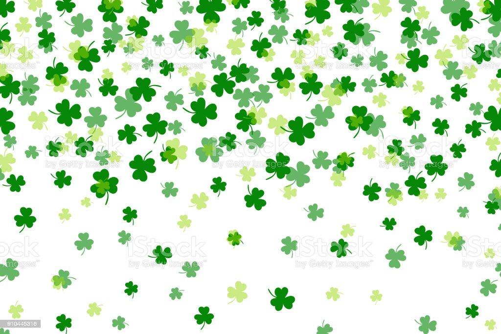 Clover leaf flat design green backdrop background pattern vector illustration