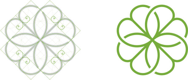 clover leaf icon, golden ratio - golden ratio stock illustrations