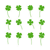 Clover leaf plant icon set. Shamrock symbol for St. Patricks Day and luck. Vector illustration isolated on white.