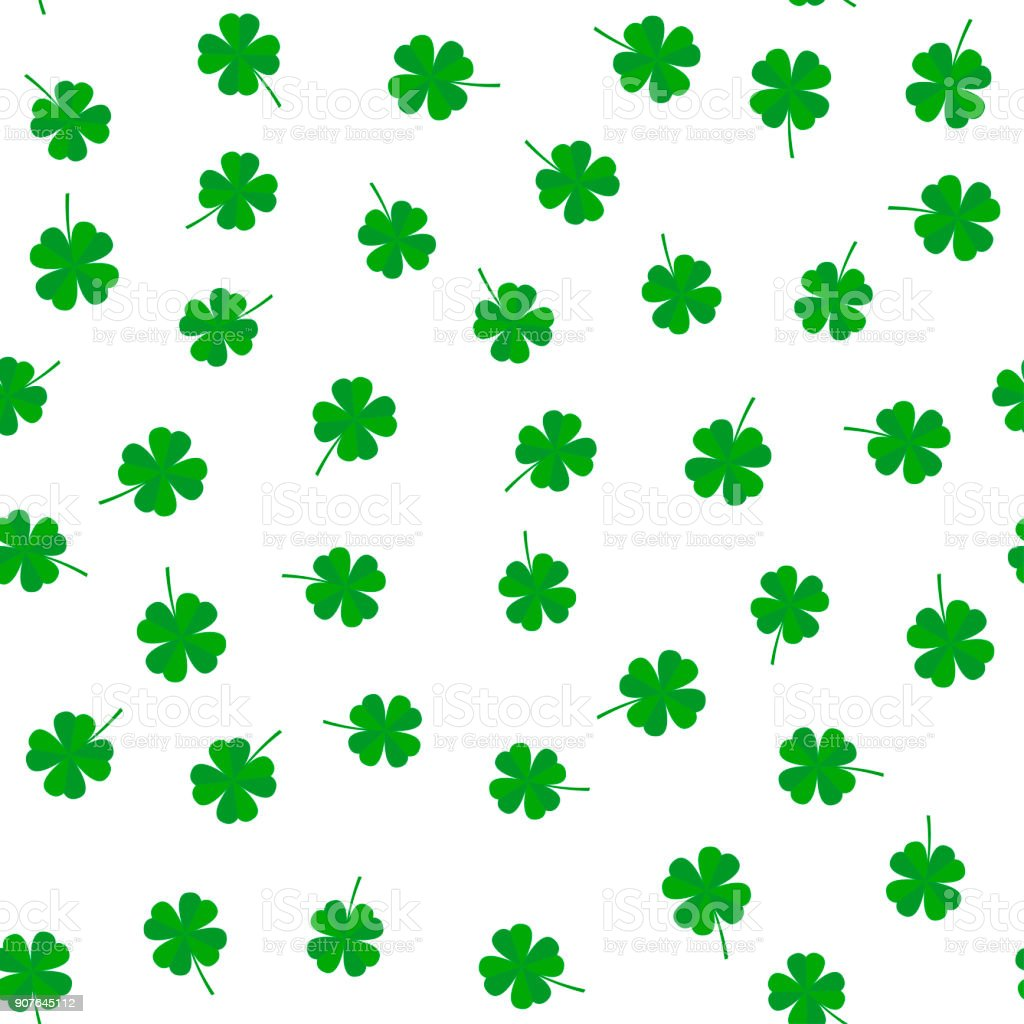 Clover leaf seamless vector pattern vector art illustration