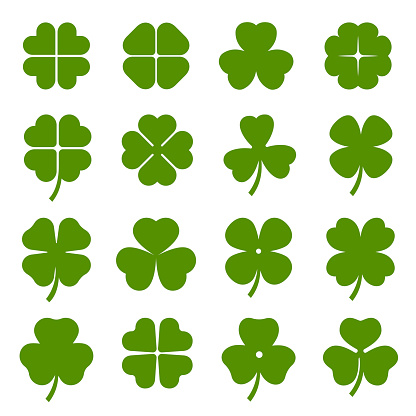Clover leaves with four and three petals green icons set. Shamrock plant, grass.