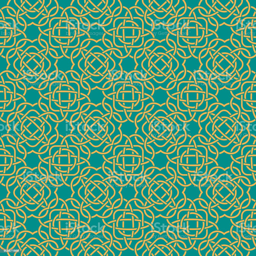 Clover seamless pattern in Celtic Style. St. Patrick's Day endless repeat backdrop, texture, wallpaper. Luck symbol backdrop.