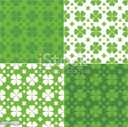 Clover seamless pattern in green and white