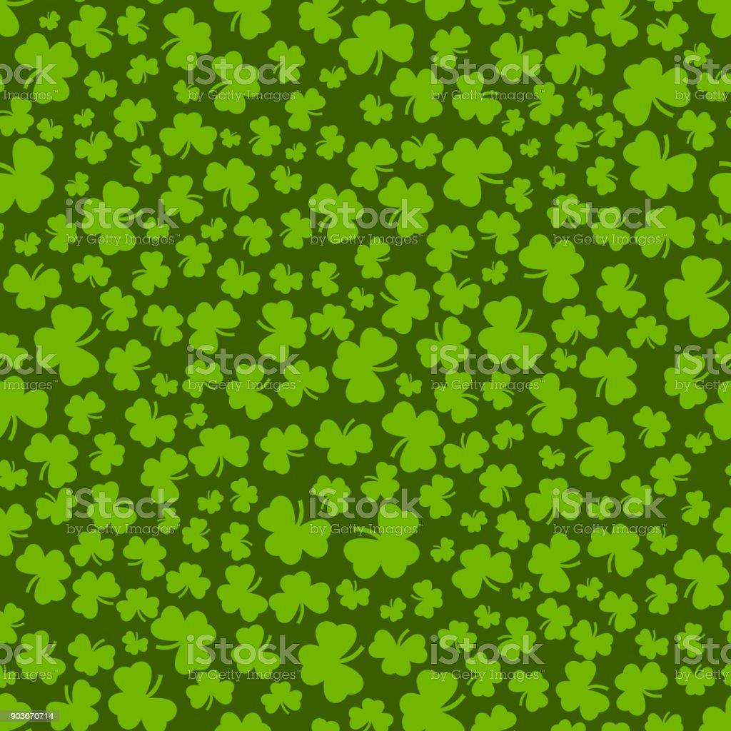 クローバー グリーン色でシームレスなパターンシャムロックとパターン