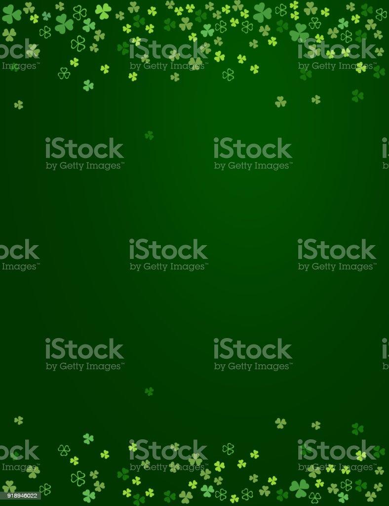 Clover shamrock leaves isolated on dark green background vector art illustration