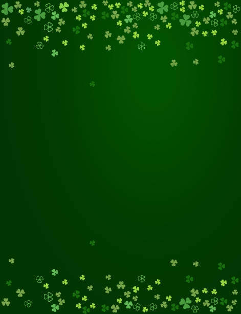 Clover shamrock leaves isolated on dark green background vector art illustration