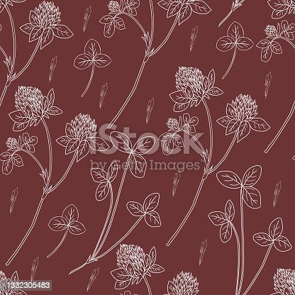 istock Clover, shamrock wild field flower hand drawn vector ink sketch isolated on brown background, Vector seamless pattern, graphic floral texture background for cosmetic, design package tea, wallpaper 1332305483