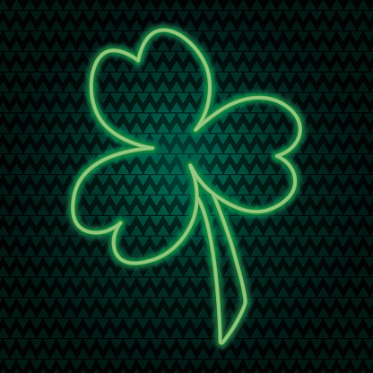Clover. Trefoil. Neon glow. The white clover leaf is the symbol of Ireland. Colored vector illustration. Isolated background. Three sheets. Saint Patrick Day. Green plant.
