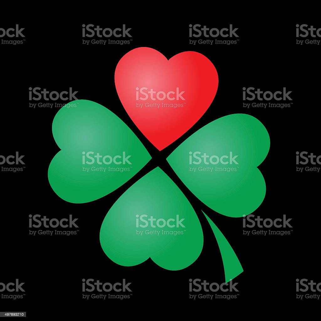 Cloverleaf Heart Four Leaved Luck vector art illustration