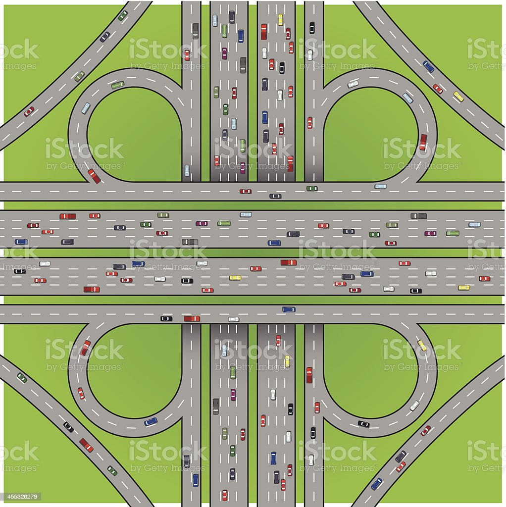 cloverleaf interchange traffic illustration royalty-free stock vector art