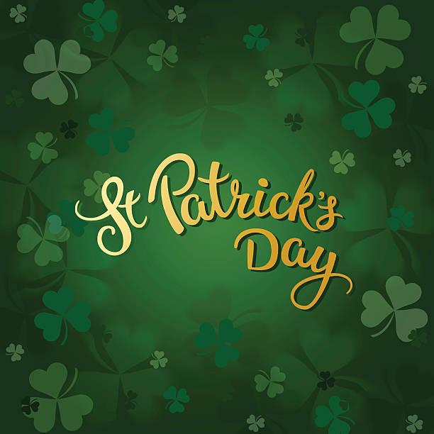 Kleeblätter und originalen Schriftzug St. Patricks Tag – Vektorgrafik