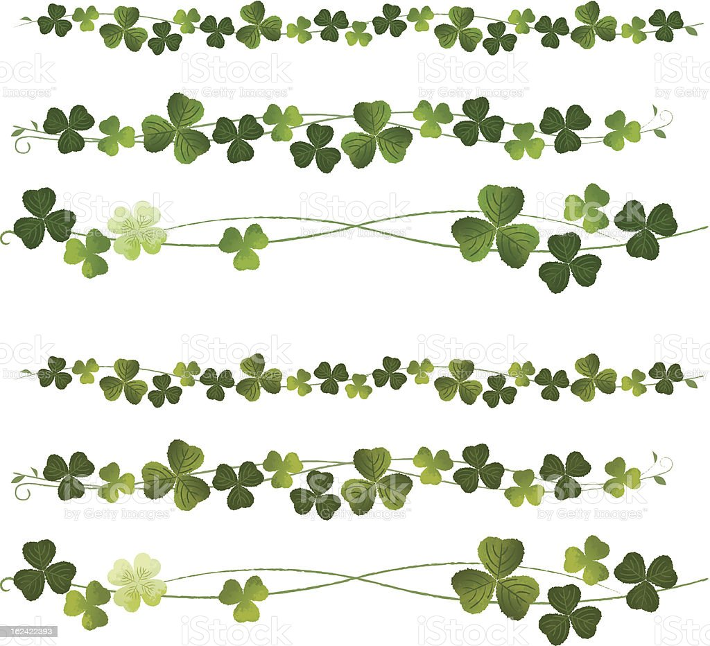 Clovers Dividers vector art illustration