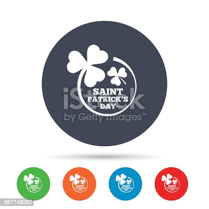 istock Clovers in circle with three leaves sign. 657148262