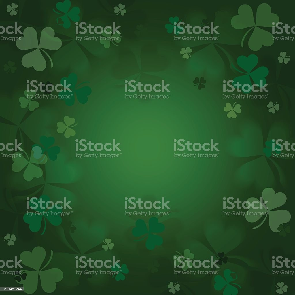 Clovers  on a green  background. vector art illustration