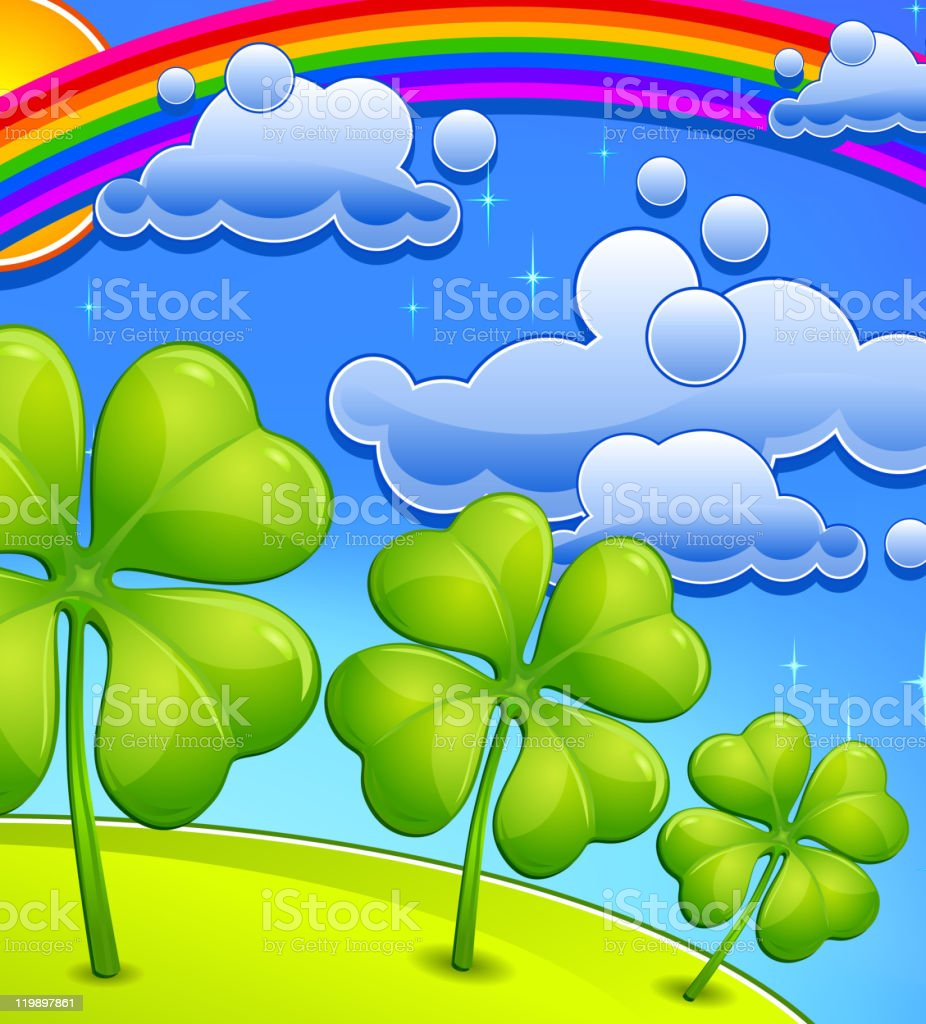 Clovers under rainbow royalty-free clovers under rainbow stock vector art & more images of blue
